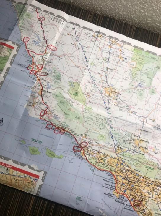 Map, Side 1: Santa Ana to San Simeon