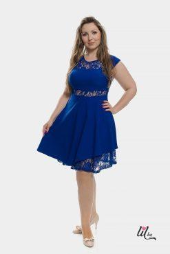 Къса синя рокля с дантела
