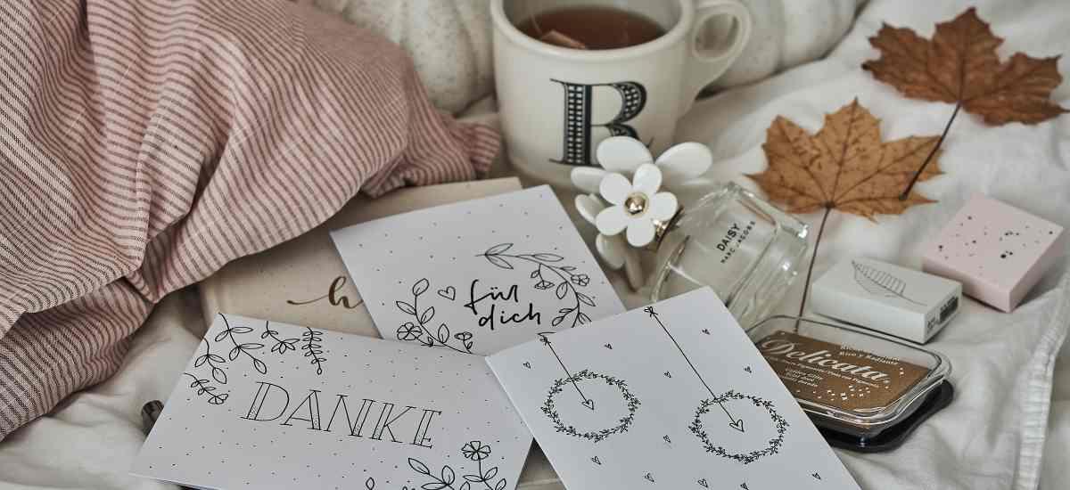 DIY: hübsche Grußkarten schnell und einfach gestalten Teil 1 – weiße Karten