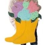 Spring Flowers in Boots Door Hanger