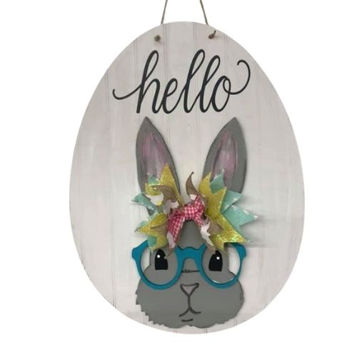 Bunny With Glasses Wall/Door Hanger