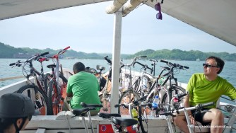 With our bikes, we took the ferry from Iloilo City to Guimaras Island. 15 mins. away.