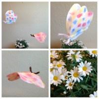 Aquarell mit Filtertüte und Eierfarben - oder - Wie schon kleine Menschen Schmetterlinge basteln können