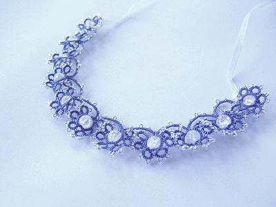 Collier frivolité bleu