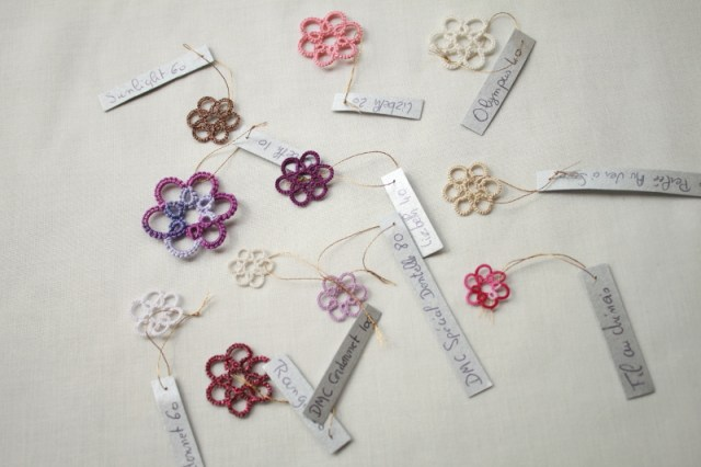Change the size of thread in tatted lace