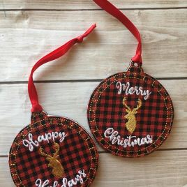 ITH Rustic Deer Holiday Ornaments 4×4 and 5×7 included- Embroidery Design – DIGITAL Embroidery DESIGN