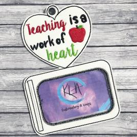 ITH Teaching is a work of heart horizontal ID holder/luggage tag – 5 x 7 – Embroidery Design – DIGITAL Embroidery design