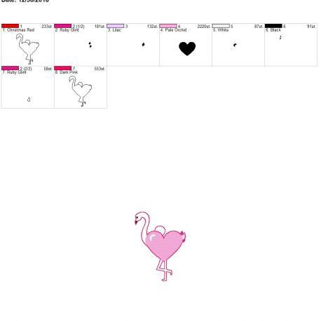 Valentine Heart Flamingo eyelet 4×4
