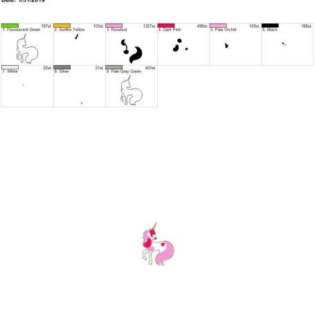 Valentine Unicorn Feltie 2inch 4×4