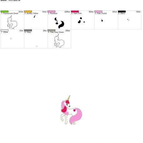 Valentine Unicorn Feltie 3inch 4×4