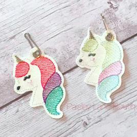 ITH Unicorn Zipper Pull – 4×4, 4×4 and 5×7 grouped included- Embroidery Design – DIGITAL Embroidery DESIGN