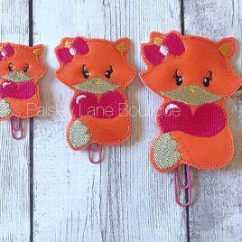 ITH – Valentine Girl Fox Felties – 3 sizes- Digital Embroidery Design