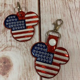 ITH – Patriotic Mr. Mouse Fobs 4×4 and 5×7 Grouped- Digital Embroidery Design