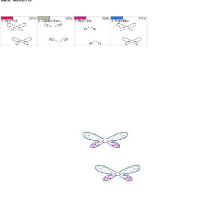3d beautiful dragonfly feltie for zipper bag 4×4 grouped