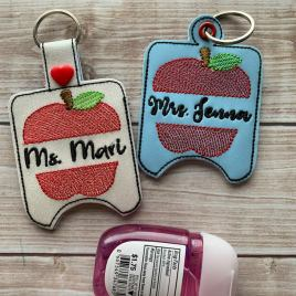 ITH Split Apple Sanitizer Holder 4×4 and 5×7 included- DIGITAL Embroidery DESIGN