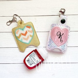 ITH Applique Heart Sanitizer Holder 4×4 and 5×7 included- DIGITAL Embroidery DESIGN