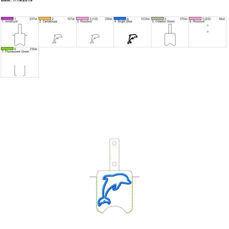 Dolphin applique sanitizer holder snaptab 5×7