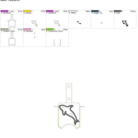 Orca applique Sanitizer holder snap tab 5×7