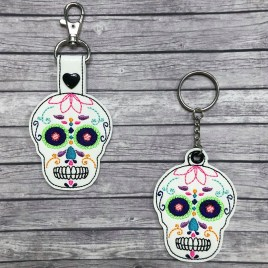 ITH Sugar Skull Fobs – 4×4 and 5×7 grouped-DIGITAL Embroidery DESIGN