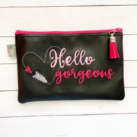 ITH – Hello Gorgeous Zipper Bag – 2 sizes – Digital Embroidery Design