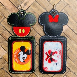 ITH – Mister & Miss Mouse ID Holder 5×7 only – Digital Embroidery Design