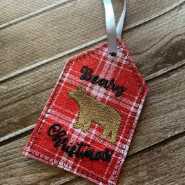 ITH – Beary Christmas Gift Tag Feltie – Digital Embroidery Design