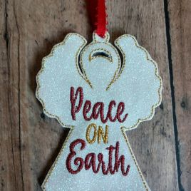 ITH – Peace on Earth Angel Ornament 4×4 and 5×7 grouped – Digital Embroidery Design