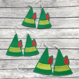 ITH – Elf hat Earrings – 3 sizes – 4×4 and 5×7 Grouped- Digital Embroidery Design