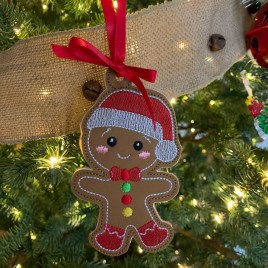 ITH – Gingerbread Family Set #5 Ornament 4×4 and 5×7 grouped – Digital Embroidery Design