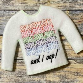 ITH – VSCO girl Doll Sweater 5×7 – Digital Embroidery Design