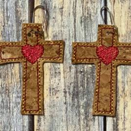 ITH – Sketch Cross Heart Felties – 5 sizes – 4×4 and 5×7 Grouped- Digital Embroidery Design