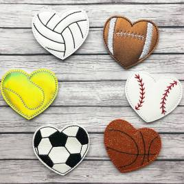 ITH – Sport Heart Feltie Set of 6 – 4×4 and 5×7 Grouped- Digital Embroidery Design