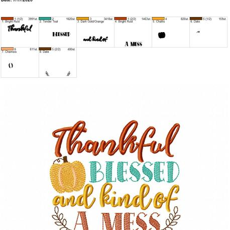 thankful blessed and kind of a mess 5×7