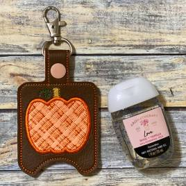 ITH Plaid Applique Pumpkin Sanitizer Holders 4×4 and 5×7 included- DIGITAL Embroidery DESIGN