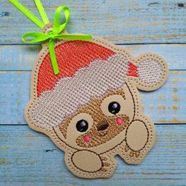 Santa Sloth Ornament – Digital Embroidery Design