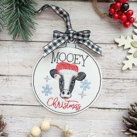Mooey Christmas Ornament – Digital Embroidery Design