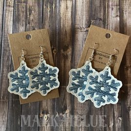 Snowflake Sketch Earrings – 2 sizes – 4×4 and 5×7 Grouped- Digital Embroidery Design