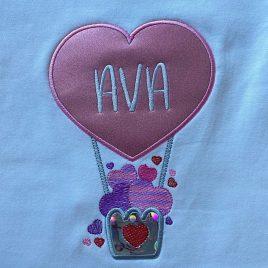 Heart Air Balloon Applique – 3 sizes- Digital Embroidery Design