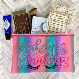 Wakeup and Makeup Zipper Bag – 2 sizes – Digital Embroidery Design