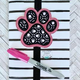 Paw Print Applique Book Band – Embroidery Design, Digital File