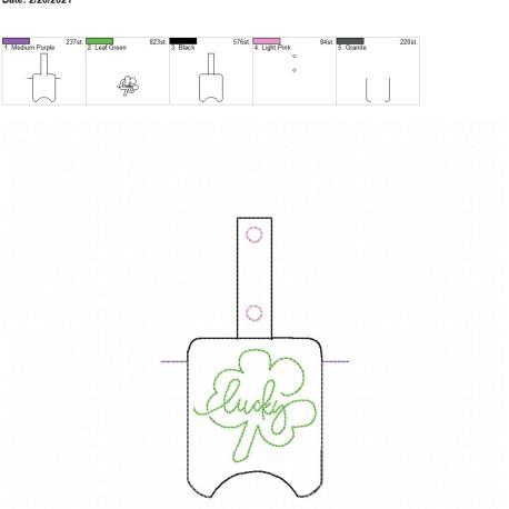 Lucky Sanitizer holder snap tab 5×7