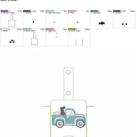 Sketch Easter Truck Sanitizer holder snap tab 5×7