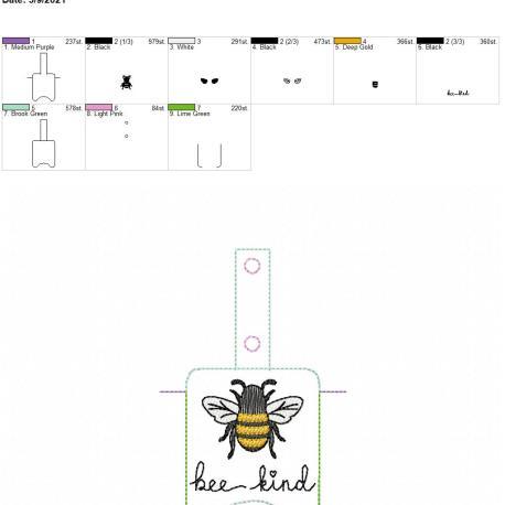 Bee Kind Sanitizer holder snap tab 5×7