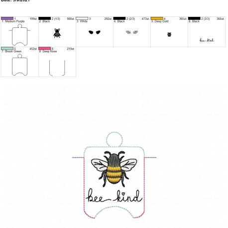 Bee Kind sanitizer holder eyelet 4×4