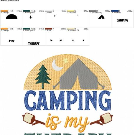 Camping is my therapy 6×10