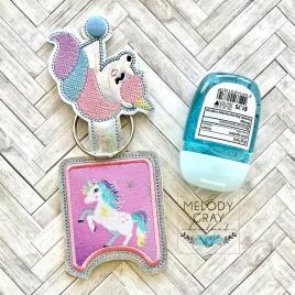 Unicorn Applique Fold Over Sanitizer Holder 5×7- DIGITAL Embroidery DESIGN