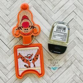Bouncing Tiger Applique Fold Over Sanitizer Holder 5×7- DIGITAL Embroidery DESIGN