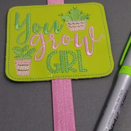 You Grow Girl Book Band – Embroidery Design, Digital File