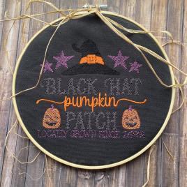 Black Hat Pumpkin Patch – 4 sizes- Digital Embroidery Design