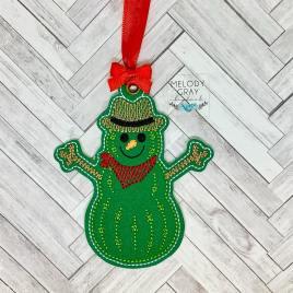 Cactus Snowman Ornament – Digital Embroidery Design